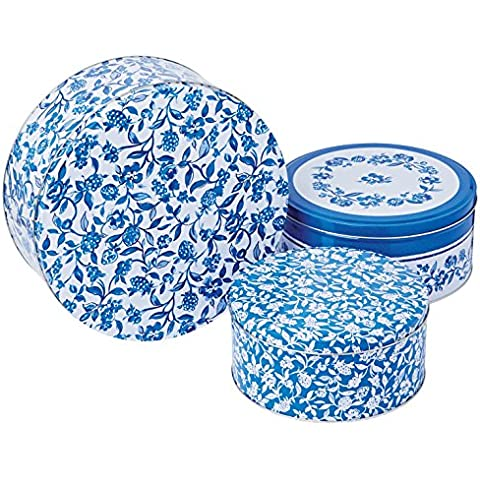Cooksmart - Cajas de lata para pasteles, redondas, modelo Secret Garden, juego de 3, color cobalto