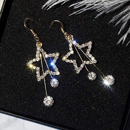 WSXA Kristall Hohlstern Lange Quaste Ohrringe Für Frauen Exquisite Strass Earing Modeschmuck