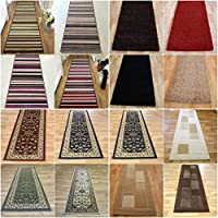 Long Modern Traditional Striped Shaggy Hallway Hall Runner Rug In Multi Colours by Lord of Rugs