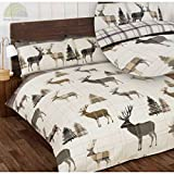 So Soft Flannelette Stag King Size Duvet Cover and 2 Pillowcases Bedding Bed Set Brushed Cotton Quilt Cover Natural, Grey