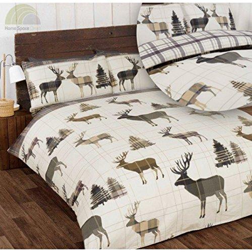 So Soft-Morbido cervo Lenzuolo di flanella, King-Size, copripiumino e 2 federe per letto in cotone spazzolato, colore: grigio