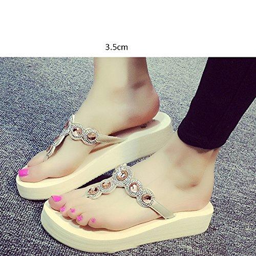 ZHANGRONG-- Vêtements de mode avec pantoufles Pieds glissants estivaux féminins Chaussons inférieurs épais Pente avec les chaussures de dragage des sandales de pied Chaussons de plage (4 couleurs en o B