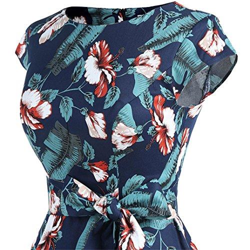 ♪ZEZKT♪Vintage Rockabilly Semi Feste Gürtel Kleider Swing V Ausschnitt Kleid Ärmellos Party Floral Print A-Line Strandkleid Sommerkleid Blumen Druck 50er Vintage Hepburn Marine