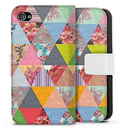 Apple iPhone X Silikon Hülle Case Schutzhülle Triangles Muster Dreiecke Sideflip Tasche weiß