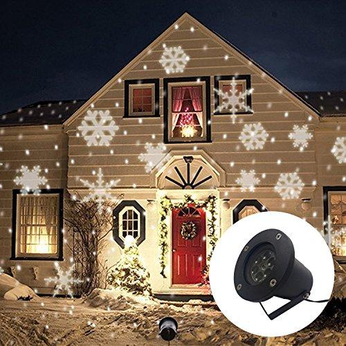 Gimify Proiettore Fiocchi di Neve LED Movimento Esterno Luce Impermeabile Decorazione per Natale Sera Compleanno Bar Giardino Bianco