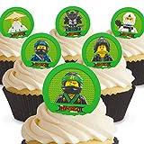 12 x Vorgeschnittene und Essbare Lego Ninjago Kuchen Topper (Tortenaufleger, Bedruckte Oblaten, Oblatenaufleger)