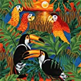 bunte tropische Vögel Stoff mit Papagei Robert Kaufman