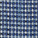 Linton Tweed-Stoff, Meterware, Y7490, Blau/Schwarz / Weiß
