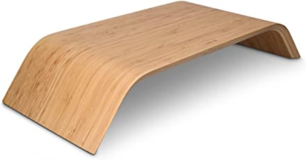 kalibri Bildschirm Holzständer TV Ständer - Computer Tisch Schreibtisch Aufsatz Monitorständer Desktop Bank - Schreibtischaufsatz aus Walnussholz