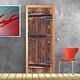 PT0180 Wall Art Decoración adhesiva para puertas - Puerta madera vieja - Impresión en PVC adhesivo bubble free