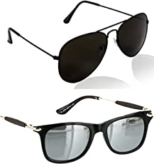 Younky Combo Of Uv Protected Aviator Silver Mercury Sunglasses For Men Women Boys & Girls ( Blkblk-Gldnstickslvrmrcy|55|Silver ) - 2 Sunglass Case