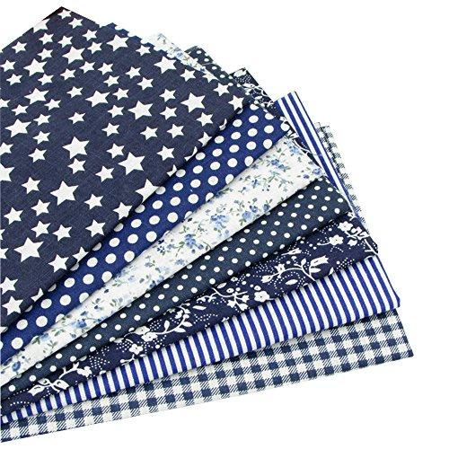 Set di 7 quadrati di tessuto, 100% cotone per trapuntare, per progetti di cucito fai-da-te, lenzuola per bambini, borse, bambole di pezza, 49x 49cm, blu scuro