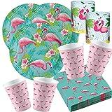 Amscan/Ursus 57-teiliges Party-Set Flamingo Paradise - Teller Becher Servietten Mini Tischlichter für 16 Personen
