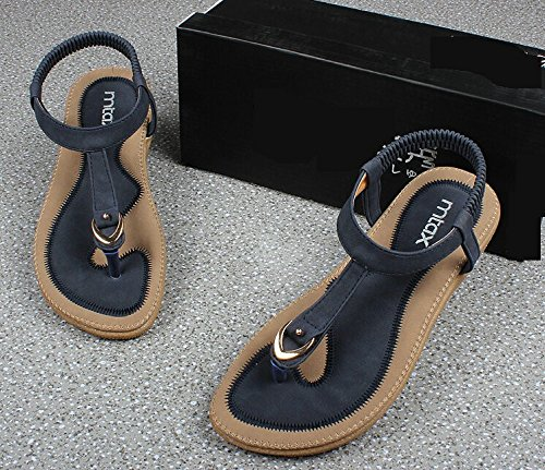 Minetom Femmes Fille Été Des Sandales Bohémien Style Bottom souple Tongs Talon Plat Chaussons Chaussures Bleu