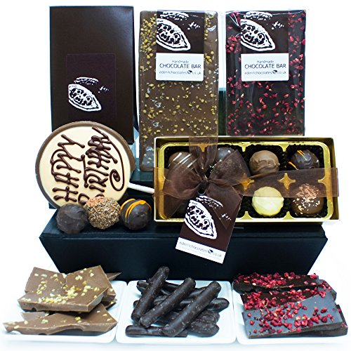BIRTHDAY CHOCOLATE HAMPER GIFT - Exclusive Eden4chocolates Chocolate Hampers & Luxury Chocolates for Occasions & Celebrations Year Round - Perfect for Birthday Easter Christmas Mothers Day and Fathers Day