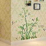 KaO0YaN Wandtattoo Dekoration Fürs Wohnzimmer Kinderzimmer Wandsticker Herausnehmbar Wandaufkleber Wohnzimmer Abnehmbarewandtatoos Wohnzimmer Pflanzen Bambus, 123 × 107 cm