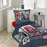 Douceur d'Intérieur CITY LONDON Parure avec Taie d'oreiller Coton Multicolore 140 x 200 cm