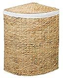 Eck-Wäschebehälter TINA L aus Wasserhyazinthe Natur, Wäschekörbe Wäschesammler Wäschebehälter Wäschetruhe Aufbewahrungsbox mit Deckel Aufbewahrungskiste Aufbewahrungstruhe Wäschetruhe