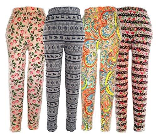 Mädchen Leggings Legging Hose Tregging bunt Rosen Spitze Sport Tanzen, Grösse Bekleidung:140/146;Farbe:4 mal Leggings im Set