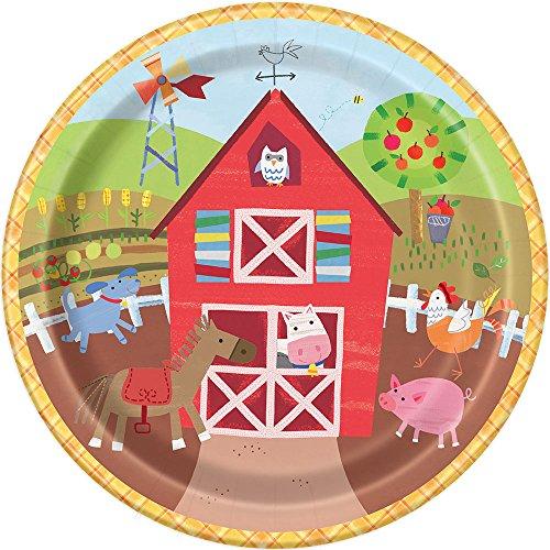 Unique Party 7245523cm Farm Party Pappteller, 8Stück