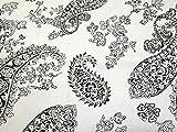 Paisley Blume Drucken Baumwolle & Leinen Canvas Stoff schwarz und weiß–Meterware