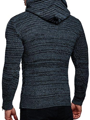 Pullover Herren Strickpullover Winter Strick Strickjacke Tazzio Pulli Langarm Shirt Pulli Look Anthrazit
