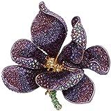 Ever Faith Regali Donna austriaco Cristallo di San Valentino 'Orchidea del petalo del fiore viola spilla in oro-Fondo