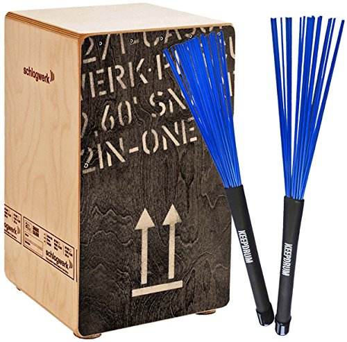 Schlagwerk CP404 BLK Cajon + KEEPDRUM SV603BL Brush Besen