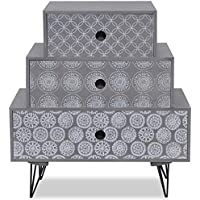 Comparador de precios Furnituremaxi Armario con 3mesilla Pecho de Tres cajones Dormitorio Muebles, Madera, Gris, 52x 30x 55,5cm - precios baratos