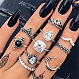 Yinew 11 Pcs/Set Damen Midi Ring Vintage Punk Antike Blume Carving Mini Fingerring Frauen Böhmischen Knöchel Set Schmuck Retro Midi Ringe Set