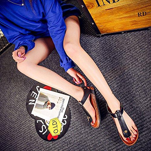 Unisex-Erwachsene Sandalen mit Korkfußbett Zehengreifer Flip-Flops Schuhe Flache Sandalette Komfort Zehentrenner Schwarz