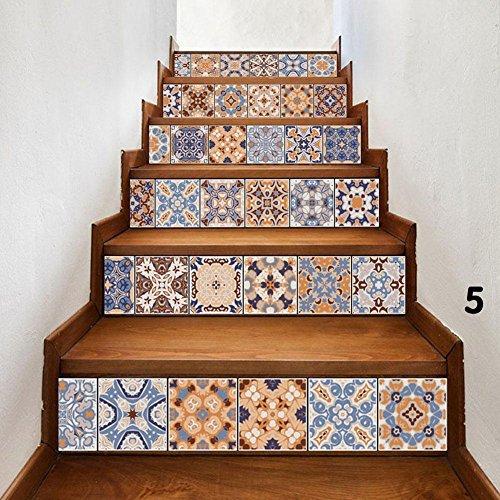 BENHAI 1Set arabischen Stil Mode Retro 3D Treppen Aufkleber DIY 3D Treppen Aufkleber Muster Fliesen Keramik Boden Aufkleber Wandaufkleber (colorful5)