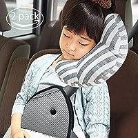 RSPrime Almohada de Viaje para Asiento de Coche para niños, reposacabezas para cinturón de Seguridad, Apoyo para el Cuello y Dormir