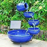 Solar-Kaskadenbrunnen Keramik blau