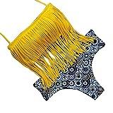 YesFashion Maillot de bain set de deux pieces Frange tassel bikini bretelle Uni couleur pour Femme