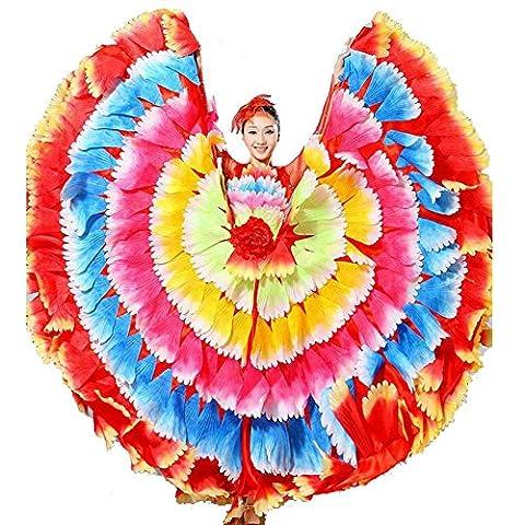 Byjia Frauen Flamenco Kleid 180 360 540 720 Degreen Blumen Doppel Ärmel Blütenblätter Rock Eröffnung Großen Modernen Tanz Chor Kostüme Seven 360 Color Skirt (Tan Perlen Set)