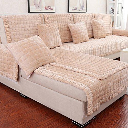DW&HX sofa möbel protector, Baumwolle stoff anti-rutsch-sofa kissen moderne einfach vier jahreszeiten sofa abdecken -Reiskernfarbe 28x59inch(70x150cm)