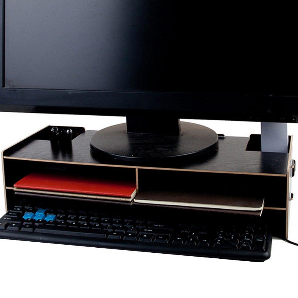 Supporto monitor computer legno sopra tastiera stand organizzatore ...