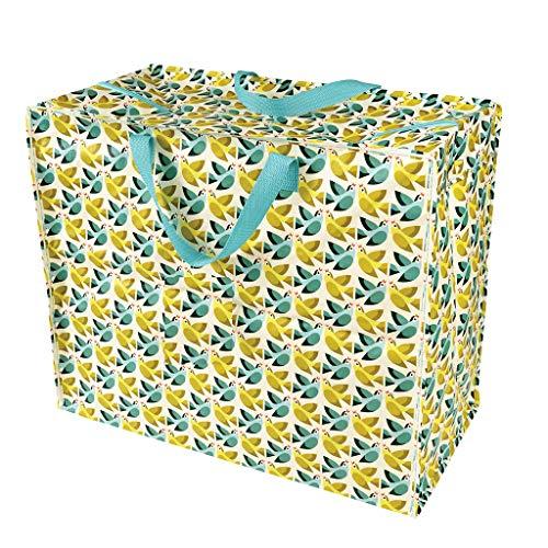 LS-LebenStil XXL Jumbo Bag Einkaufstasche Vögel Gelb Grün Shopper Riesentasche Tasche Allzwecktasche Recycelt