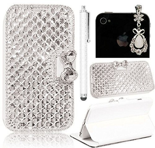 Sunroyal® Ultra Sottile Transparente Chiaro Bling Hard Duro Back Custodia Case in PC Plastica per Apple iphone 4 4S, 3 in 1 Lusso Clear Brillare Rhinestone Diamanti Glittering Cover Posteriore Telefon Gold/Bont