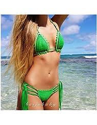 Crochet de style folklorique maillots européenne et américaine plage haut de bikini