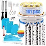 Nifogo Plateau Tournant Gâteaux, 181Pcs Kit de Décoration de Gâteau, Plateau Tournant DIY Kit de Pâtisserie Parfaits pour Les