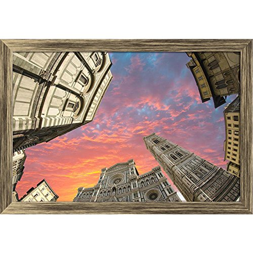 Pitaara Box Fisheye View of Piazza Del Duomo In Florence Italy Canvas Painting Antique Golden Frame 23.8 X 16Inch - Florence Antique Print