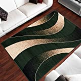 Tapis Moderne Design Vagues Vert Differentes Dimensions (130 x 190 cm)