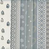 Bundle de telas - 6 telas (Colección Alpes - gris, gris pardo, beige y blanco) - colección de telas de coordinación (pequeños diseños) | 100% algodón | cada pieza 46 x 56 cm