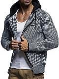 LEIF NELSON Herren Kapuzenpullover Strickjacke Hoodie Pullover mit Kapuze Sweatjacke Sweater Zipper Sweatshirt LN7055; Größe L, Schwarz-Ecru