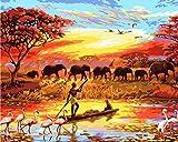 Neu Malen nach Zahlen Afrikanische Landschaft Elefanten Kräne Giraffe 16 * 20 Zoll Segeltuch Digitales Ölgemälde Segeltuch Wand Kunst Grafik für Weihnachten Geschenke DIY Kit (Mit Rahmen)