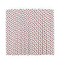 tecmac Eco-Friendly and Disposable Small Red Polka Dot Paper Straws | 8 mm | 50 Pieces