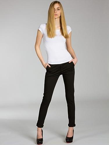 Pantalon skinny fit chino pas cher en coton pour femme