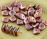 20pcs Metallic Capri Rose Valentine Rosa Flach Gewellten Quadrat-Chip Waschmaschine Tschechische Glas-Perlen 10mm x 4mm